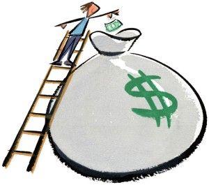 Man Depositing Money In Savings